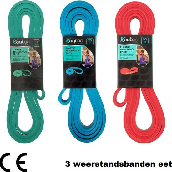 3 weerstandsbanden set - Resistance bands - Fitness elastieken - Power band 15, 25 en 35 kg